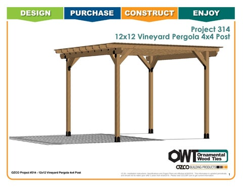 OZCO Project 12x12 Vineyard Pergola 4x4 Posts #314