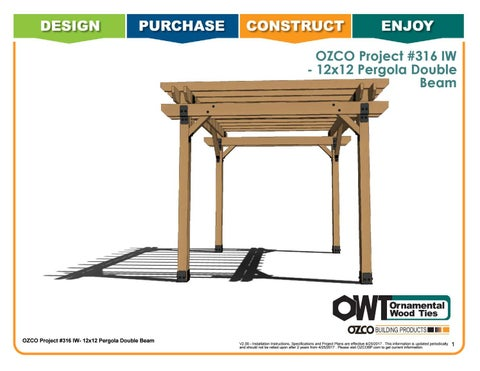 OZCO Project 12x12 Pergola Double Beams #316