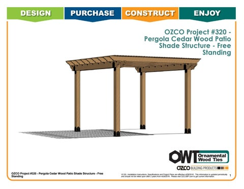 OZCO Project Cedar Pergola with 6x6 Posts - Free Standing #320
