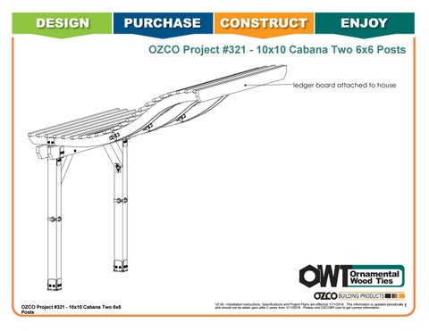 OZCO Project #321 - Attached 10x10 Cabana (6x6 Posts)
