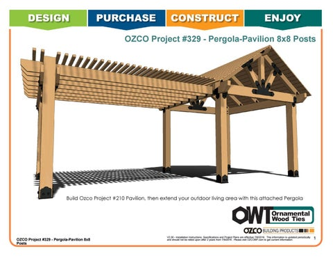 OZCO Project #329 Side by Side Pergola Pavilion with 8x8 Posts