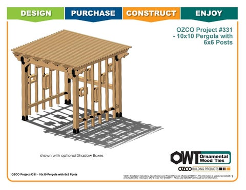 OZCO Project 10x10 Pergola - 6x6 Posts #331