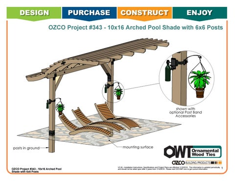 OZCO Project #343 10x16 Arched Pool or Patio Shade with 6x6 Posts