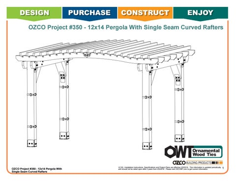 OZCO Project #350 12x14 Pergola with Single Seam Curved Rafters