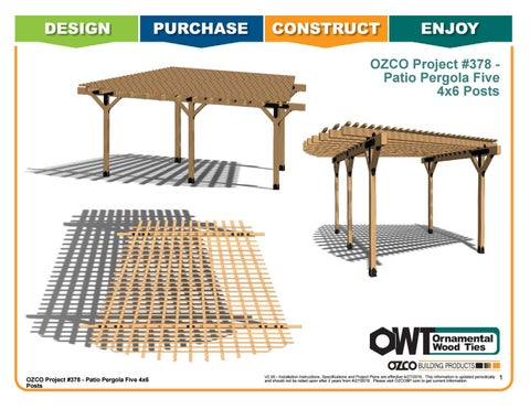 OZCO Project #378 - Patio Pergola with Five 4x6 Posts