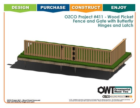 OZCO Project Wood Picket Fence & Gate #411