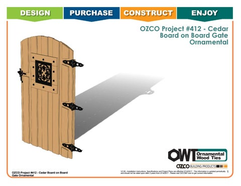 OZCO Project Cedar Board on Board Gate Ornamental #412