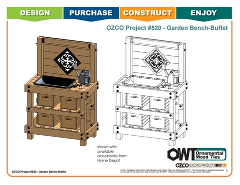 OZCO Project Garden Bench or Buffet #520