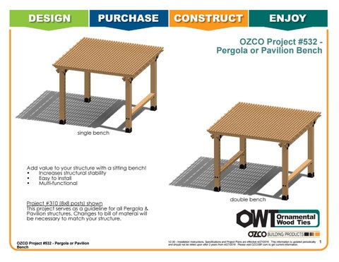 OZCO Project #532 Pergola or Pavilion Bench