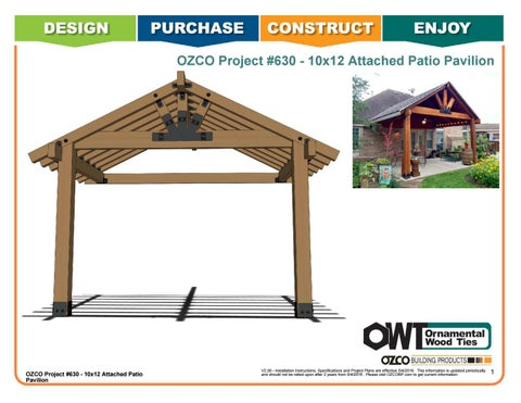 OZCO Project #630 - 10x12 Attached Patio Pavilion