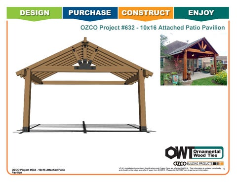OZCO Project #632 - 10x16 Attached Patio Pavilion