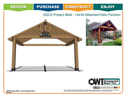 OZCO Project #642 - 12x16 Attached Patio Pavilion