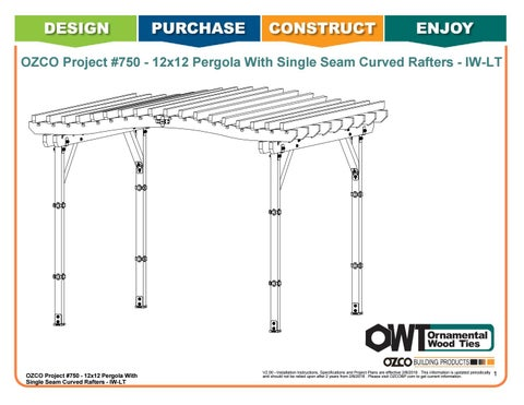 OZCO Project #750 - 12x12 Pergola With Single Seam Curved Rafters - IW-LT