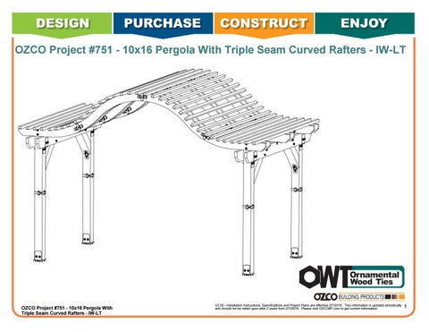 OZCO Project #751 - 10x16 Pergola With Triple Seam Curved Rafters - IW-LT