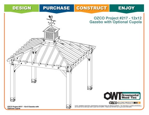 OZCO Project #217 – 12x12 Gazebo Optional Cupola