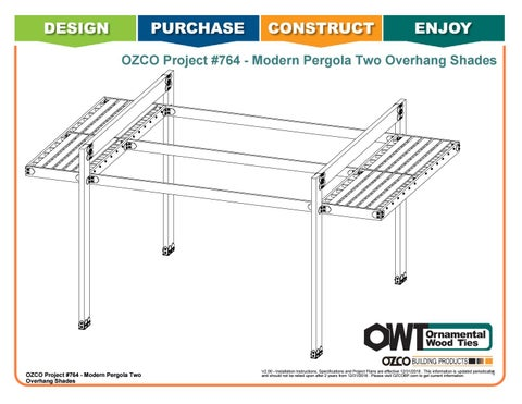 OZCO Project #764 - Modern Pergola with End Overhang Shades & Open Middle