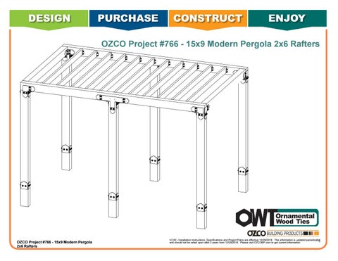 OZCO Project #766 - Modern Pergola 15x9 with 2x6 Rafters & In-ground Installation