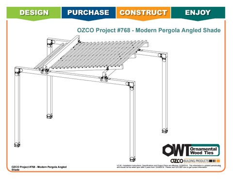 OZCO Project #768 - Modern Pergola 12'x 16' with Rafter Angled Shade