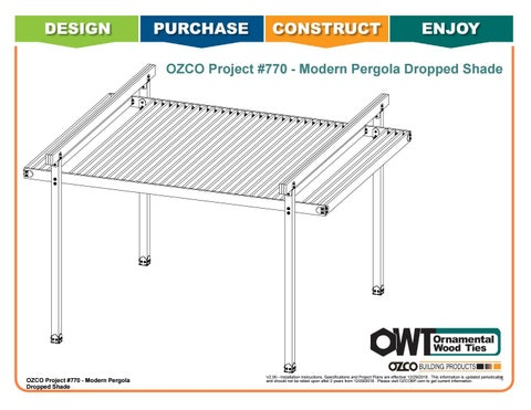 OZCO Project #770 - Modern Pergola 20'x18' with Dropped Shade