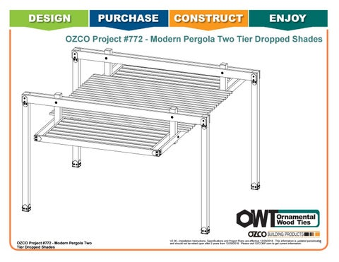 OZCO Project #772 - Modern Pergola Two Tier Dropped Shades