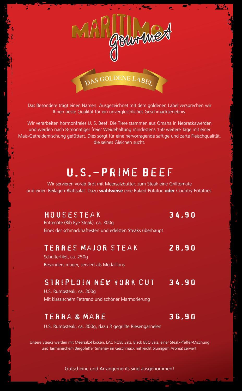 maritimo Steakkarte - maritimo Oer-Erkenschwick