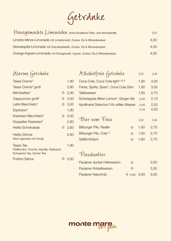 Getränkekarte monte mare Kreuzau