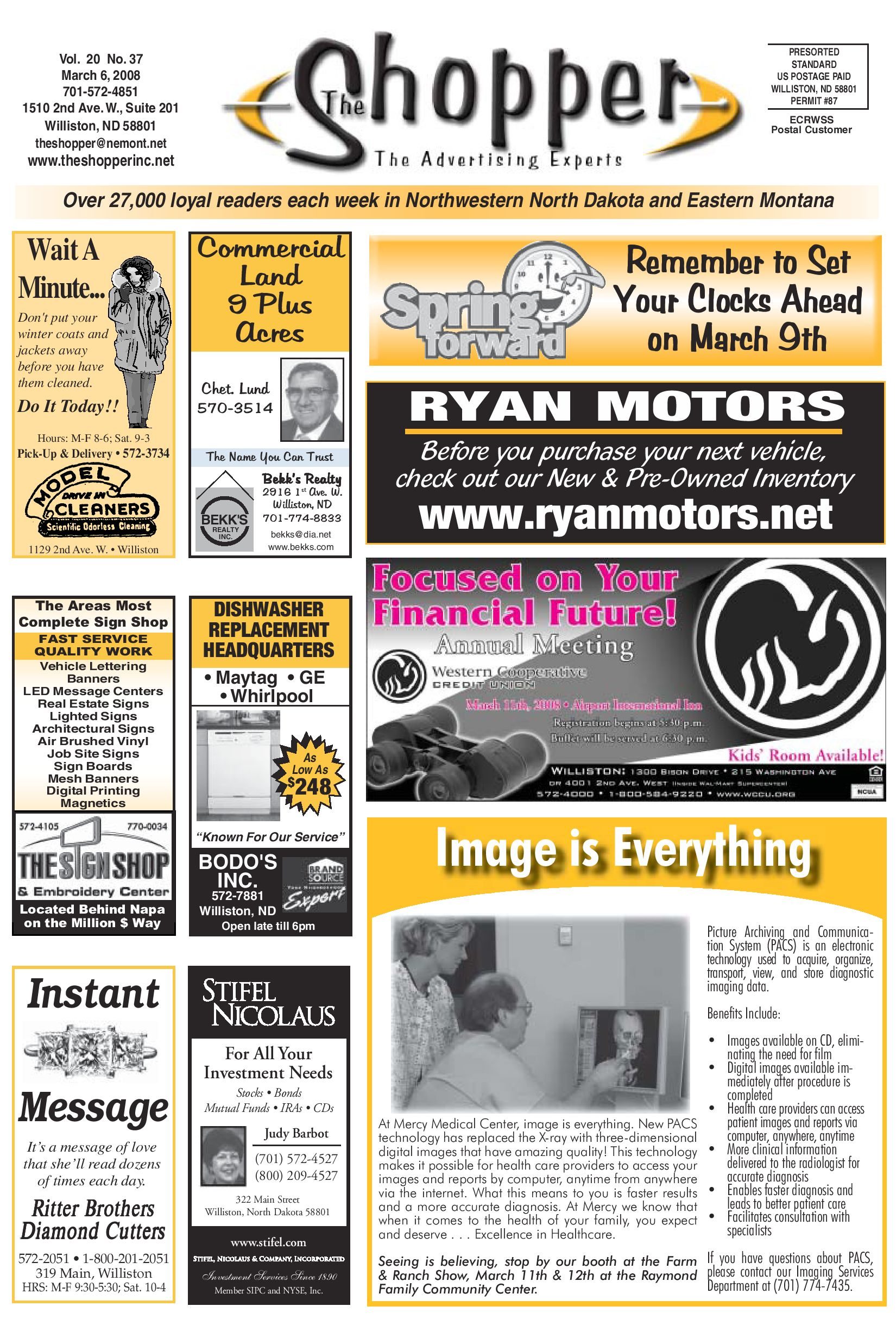 The shopper march 6 2008 by the shopper issuu for Ryan motors in williston nd