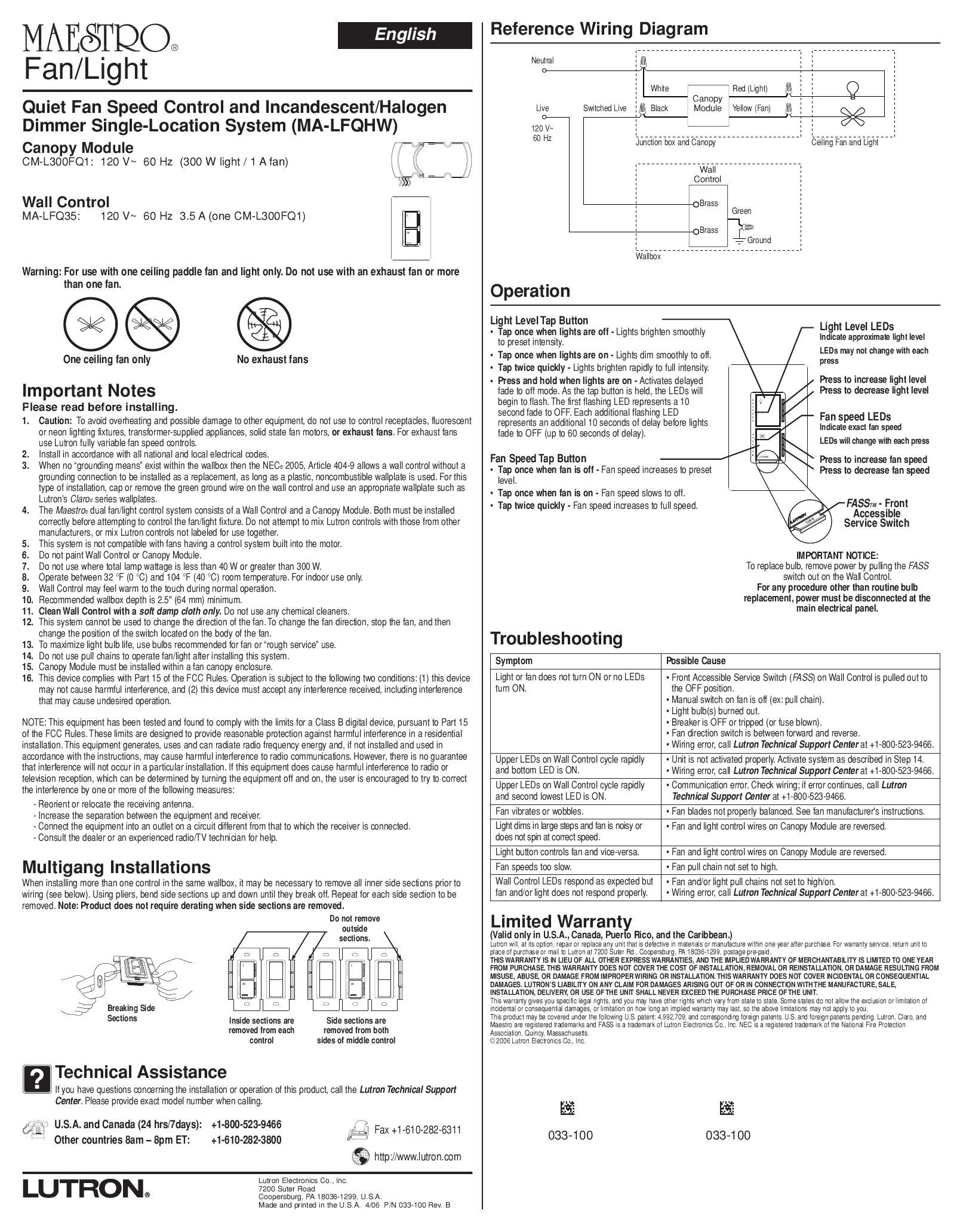 page_1 lutron ay 6 00p wiring diagram lutron wiring diagrams images lutron ma 600 wiring diagram at panicattacktreatment.co