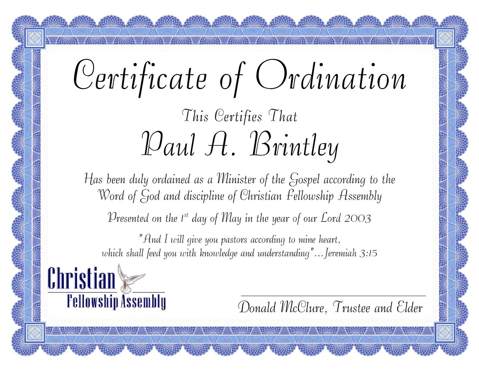 Pastoral Ordination Certificate by Patricia Clay - issuu