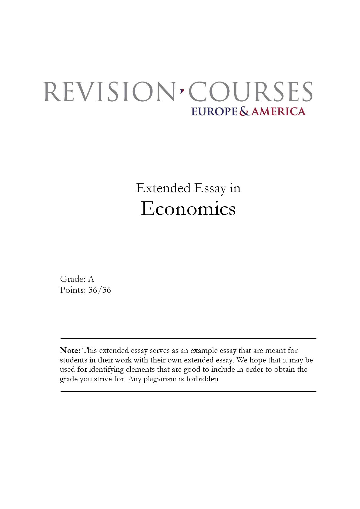 extended essay example resume cover letter for nurses resumes extended essay in economics by revision courses europe america page 1 extended essay economics