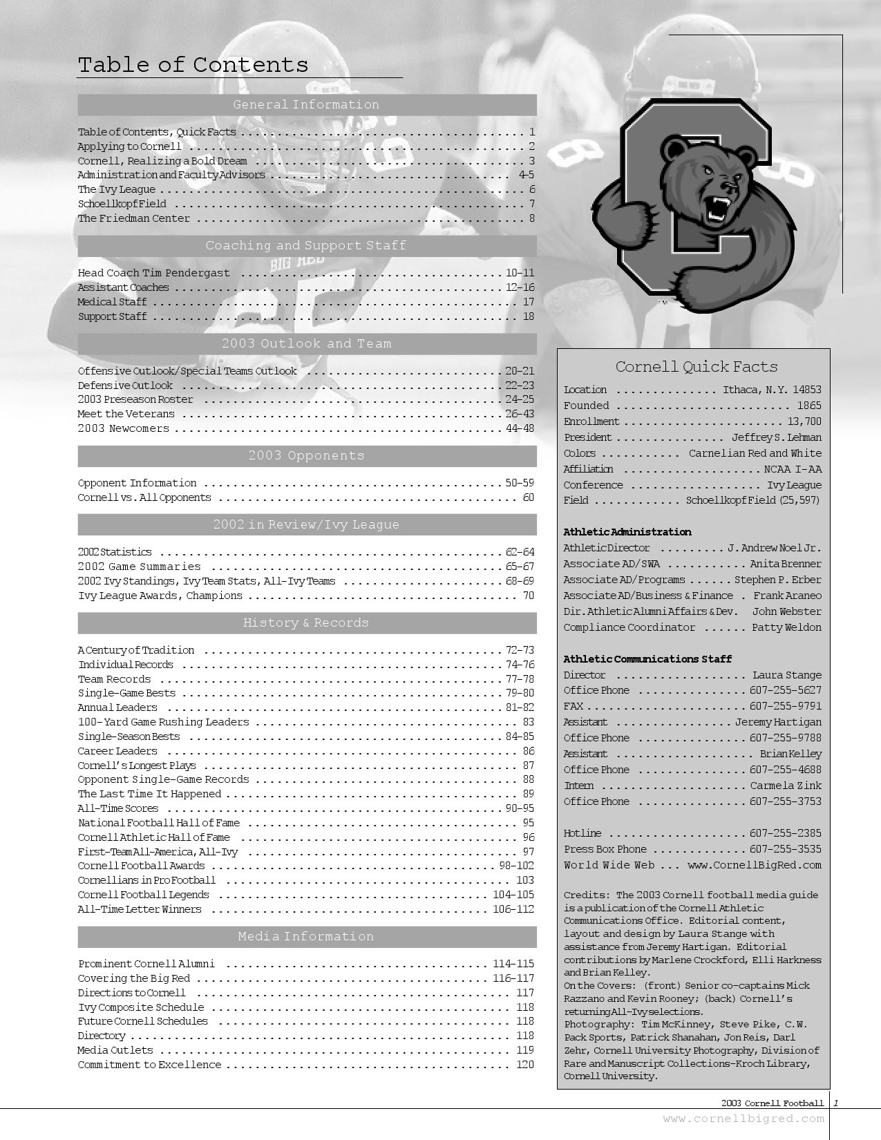 2005 Cornell Football Media Guide by Jeremy Hartigan - issuu