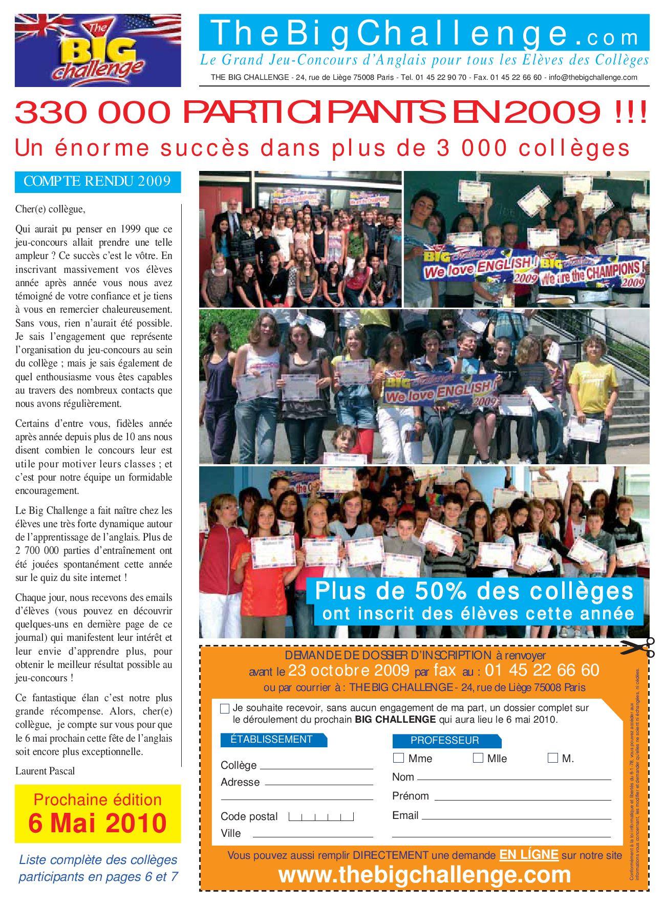 résultat du big challenge collège René Cassin by christian reboul ...