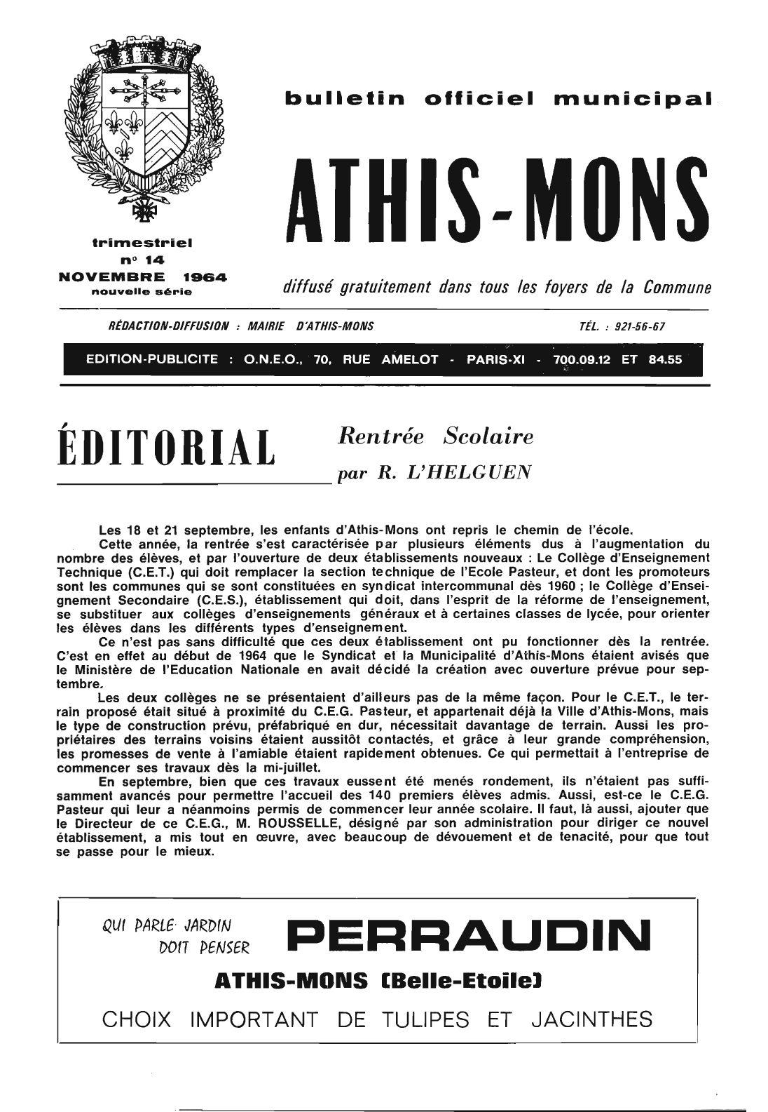 bulletin officiel municipal d 39 athis mons n 14 novembre 1964 by karim loz s issuu. Black Bedroom Furniture Sets. Home Design Ideas