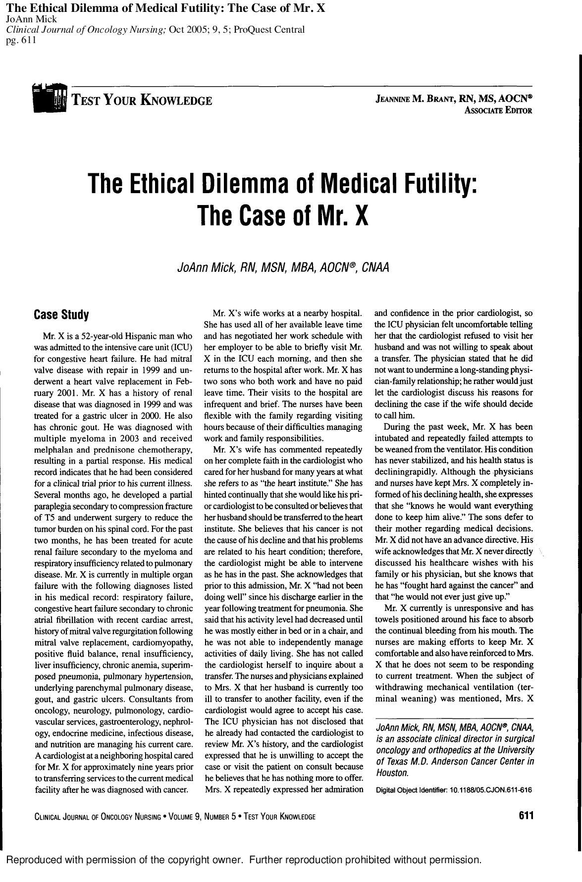 a study of the ethical dilemma in the case of mr m Cases written through the stanford graduate school of business (gsb) that highlight challenges faced and innovations created by leading philanthropic institutions and individuals.