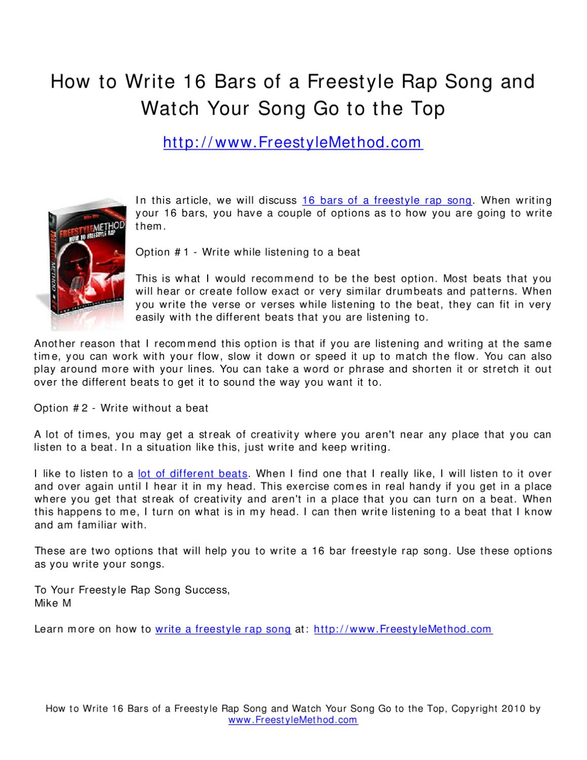 learn How to write great rap lyrics