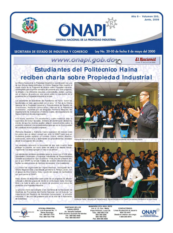 Onapi15junio20091 by oficina nacional de la propiedad for Oficina nacional de fiscalidad internacional