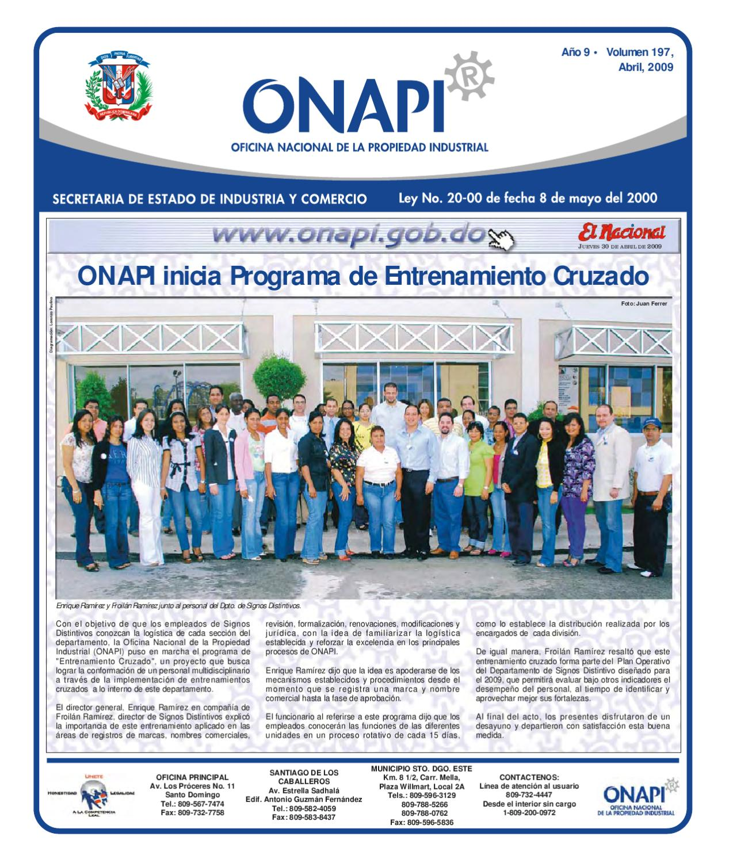 Onapi30abril20091 by oficina nacional de la propiedad for Oficina nacional de fiscalidad internacional