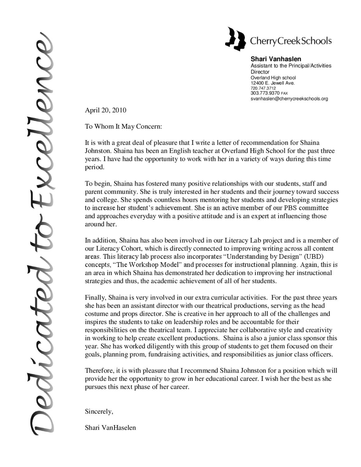 letter of rec from assistant principal by shaina johnston
