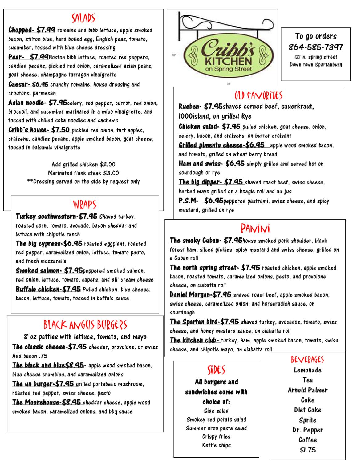 Cribbs Kitchen Menu