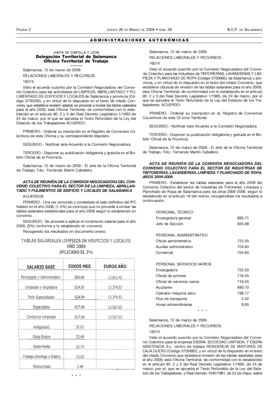 Revisi n del convenio de tintorerias y lavanderias by for Oficina empleo salamanca