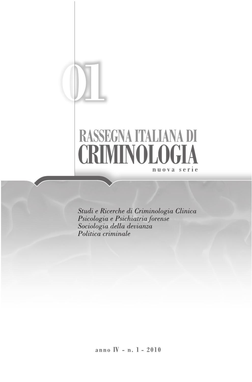 Rassegna italiana di criminologia 1 10 by pensa multimedia for Societa italiana di criminologia