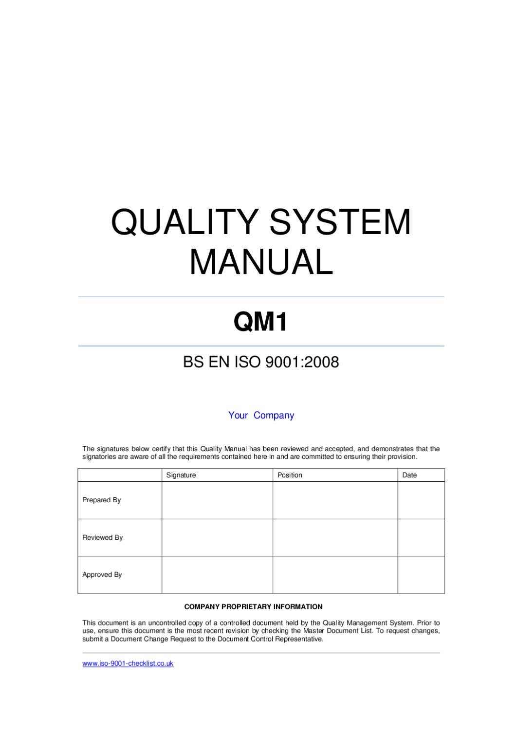 iso 9001 quality manual for services