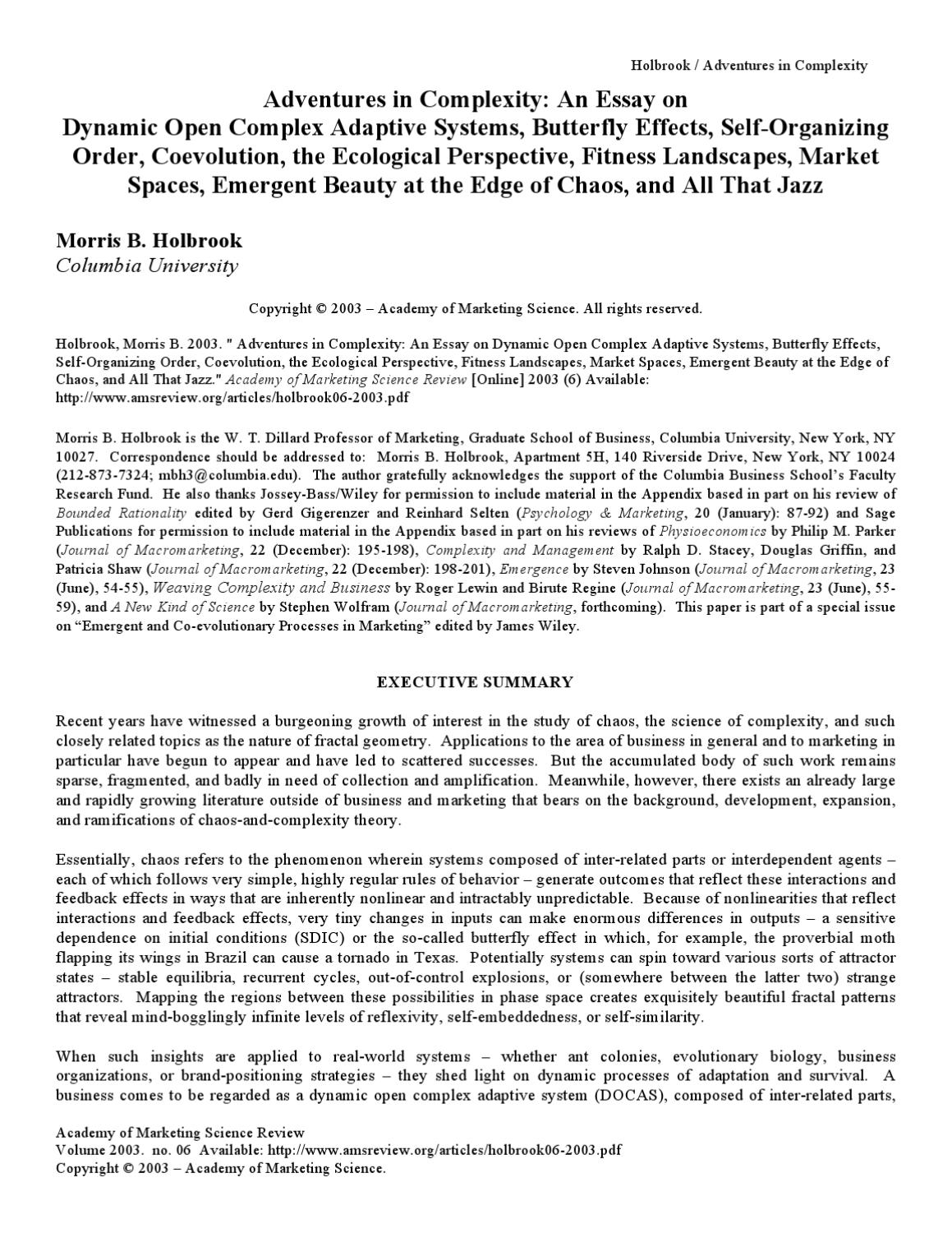 essay beauty user profile adventures in complexity an essay on  adventures in complexity an essay on dynamic open complex adventures in complexity an essay on dynamic