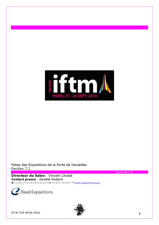 Dossier de presse iftm top resa by iftm top resa map pro for Salon top resa