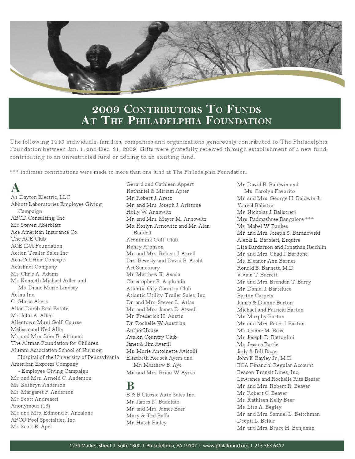 2009 contributors to funds at the philadelphia foundation by the 2009 contributors to funds at the philadelphia foundation by the philadelphia foundation issuu