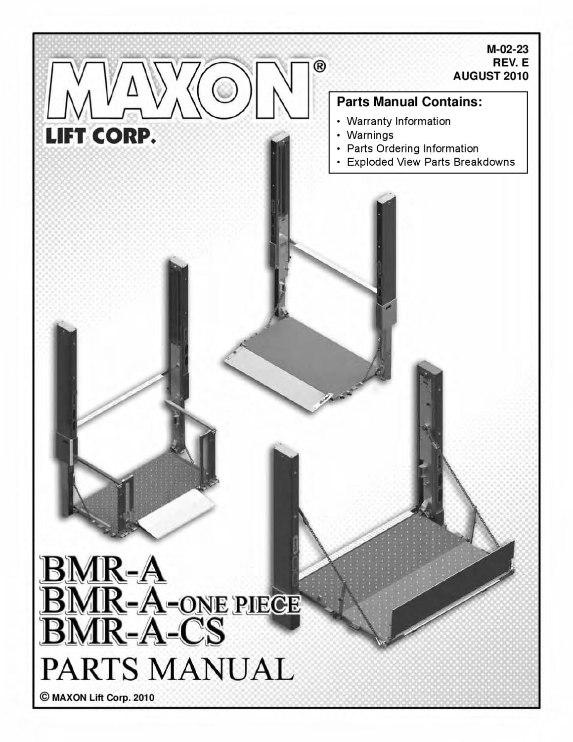 maxon bmra cs series liftgate by the liftgate parts co issuu