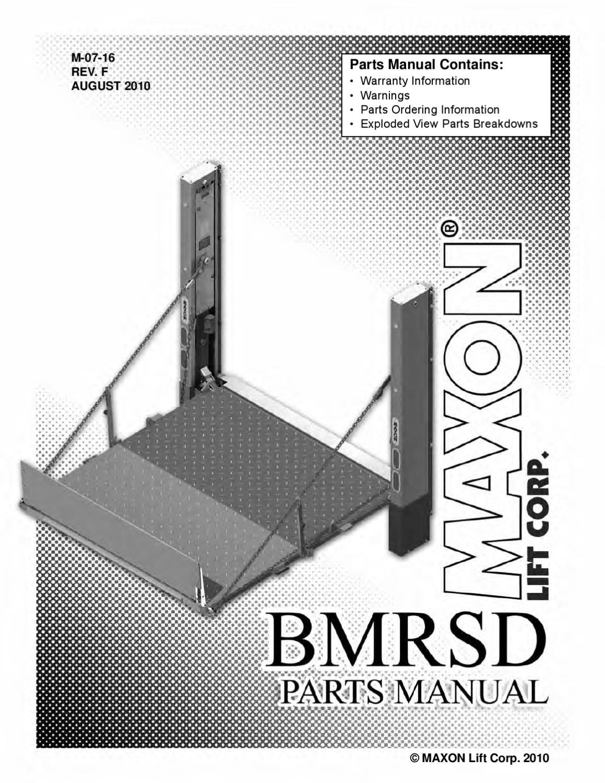 Maxon Bmrsd Series Liftgate By The Liftgate Parts Co