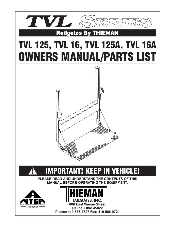 thieman tvl 125 16 series liftgates by the liftgate parts co thieman tvl 125 16 series liftgates by the liftgate parts co issuu