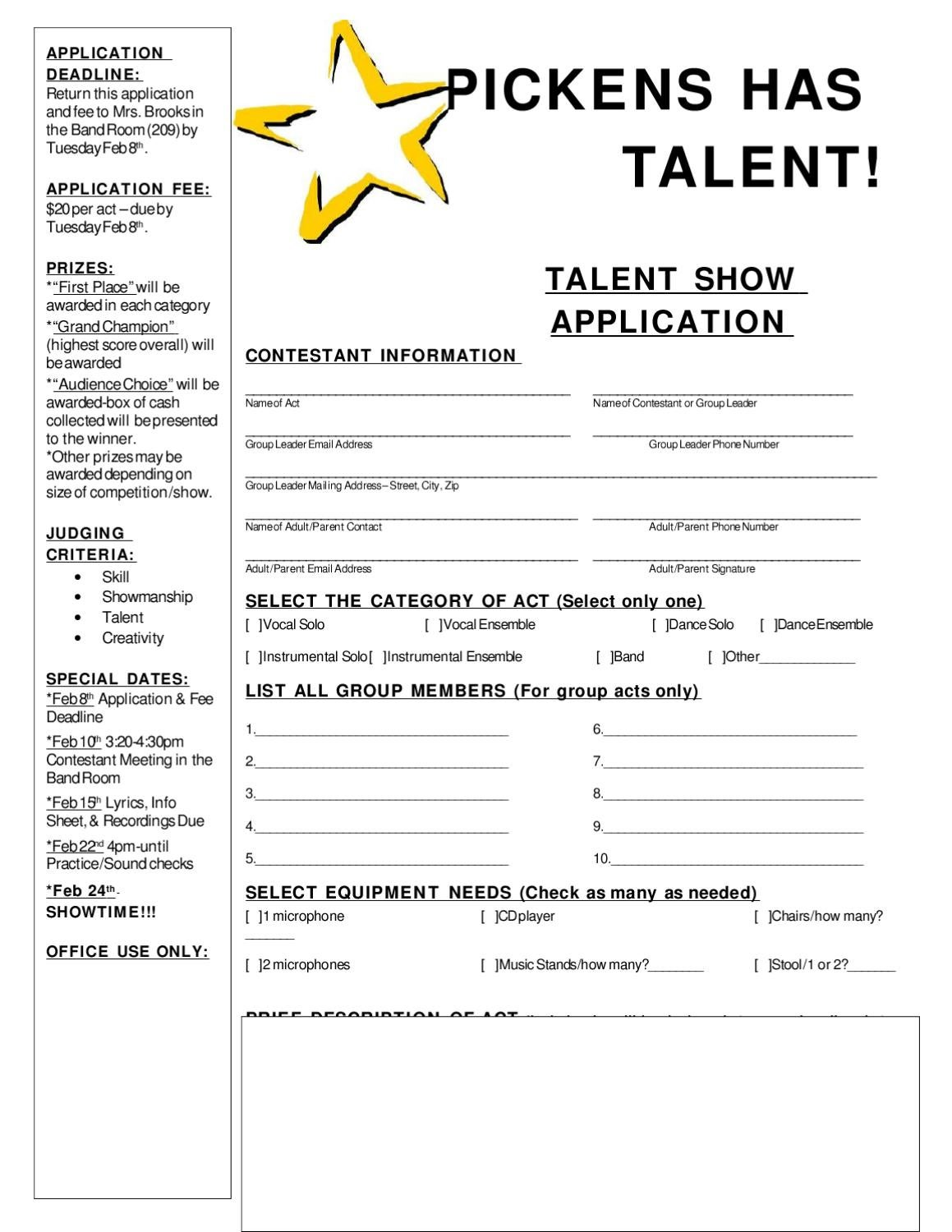 Pickens Talent Show Application & Rules By Pickens Bands