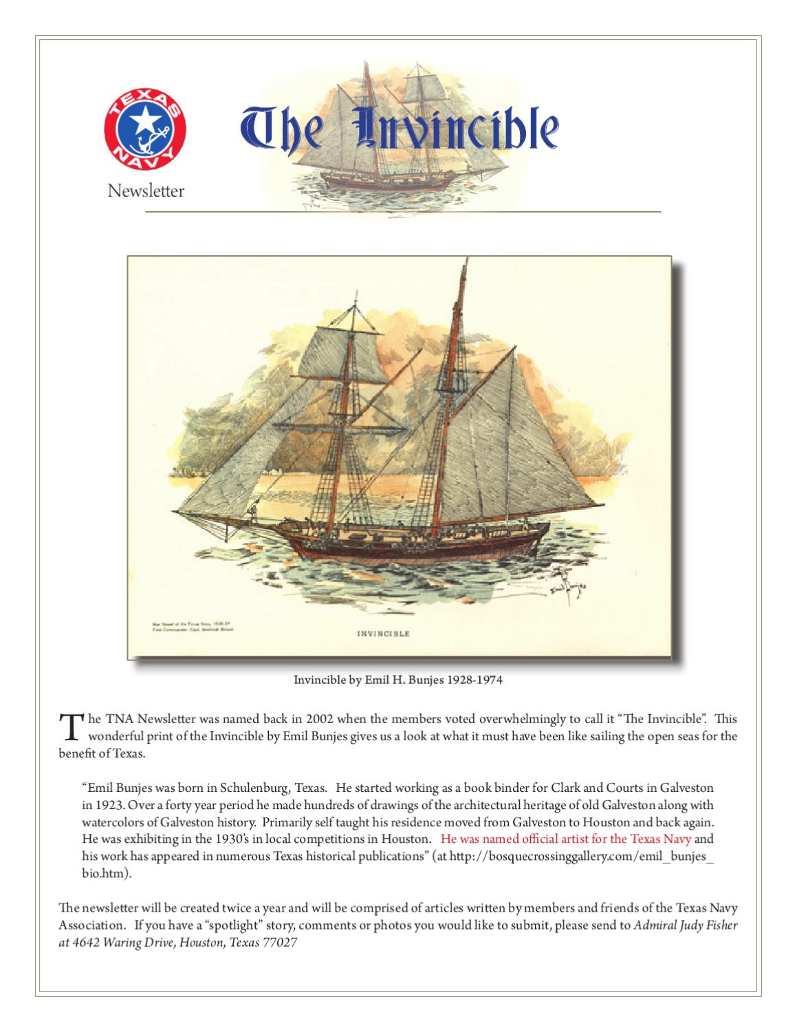 The Invincible By Texas Navy Association Issuu